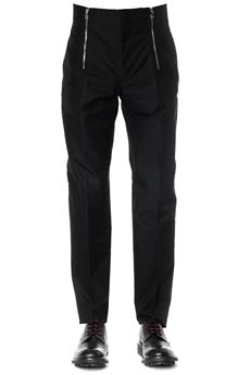 TROUSERS DOUBLE-ZIP IN BLACK COTTON SS 2020 ALEXANDER McQUEEN | 8 | 590413QOS441000