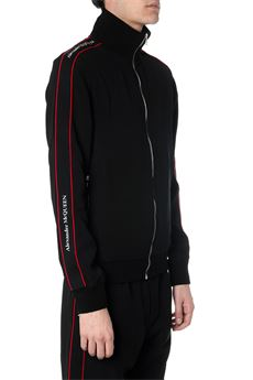 BLACK FULL-ZIP SWEATSHIRT IN WITH SIDE LOGOED STRIPES