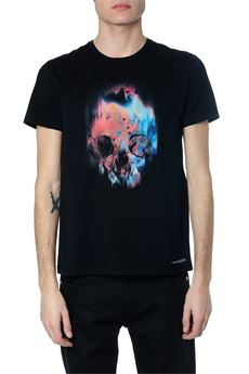 BLACK COTTON SPRAYED SKULL T-SHIRT SS 2020 ALEXANDER McQUEEN | 15 | 595650QOZ600901