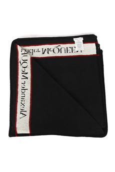 JACQUARD EFFECT BLACK COTTON BEACH TOWEL SS 2020 ALEXANDER McQUEEN | 103 | 5970354106Q1078