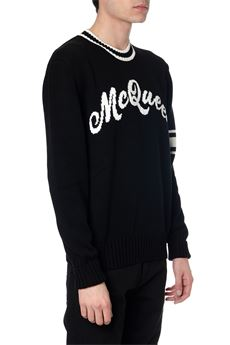 BLACK COTTON SWEATER WITH LOGO INTARSIA SS 2020 ALEXANDER McQUEEN | 16 | 603257Q1GBF1001