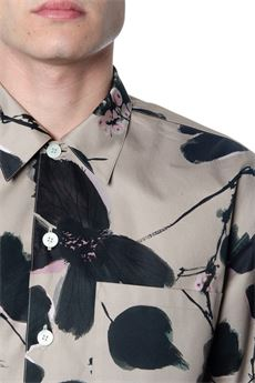 STONE COTTON SHIRT WITH FLORAL PRINT SS 2020 ALEXANDER McQUEEN | 9 | 609770QOO231241