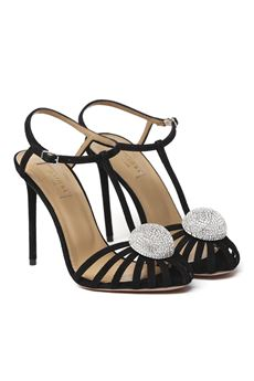 BLACK SUBLIME SUEDE SANDAL WITH JEWEL SS 2020 AQUAZZURA | 87 | SUBHIGP0-SUE-000SUBLIME PUMP 105BLACK