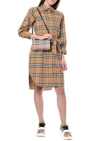 BEIGE COTTON CHEMISIER WITH ICONIC CHECK PRINT SS 2020 BURBERRY | 32 | 8013946.A2219