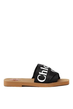 BLACK WOODY COTTON & LEATHER SLIPPER SS 2020 CHLOÉ | 87 | CHC19U18808UNI001