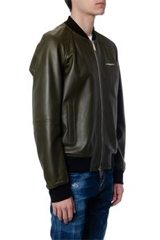 MILITARY GREEN LEATHER BOMBER JACKET SS 2020 DSQUARED2 | 53 | S74AM1012SY1442710