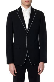 BLACK VIRGIN WOOL BLAZER WITH WHITE TRIM SS 2020 DSQUARED2 | 14 | S74BN0992S40320900