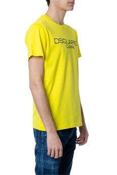 YELLOW COTTON T-SHIRT WITH DSQUARED2 CAPRI WRITING SS 2020 DSQUARED2 | 15 | S74GD0643S22844174
