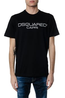 BLACK COTTON T-SHIRT WITH DSQUARED2 CAPRI WRITING SS 2020 DSQUARED2 | 15 | S74GD0643S22844900