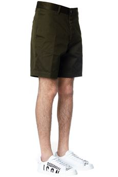KHAKI GREEN COTTON SHORTS WITH STRIPED LOGO SS 2020 DSQUARED2 | 110000034 | S74MU0599S39021697