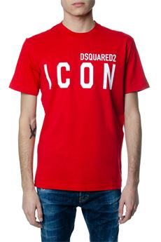 RED COTTON T-SHIRT WITH ICON DSQUARED2 WRITTEN SS 2020 DSQUARED2 | 15 | S79GC0001S23009307