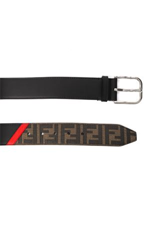 FF BLACK & BROWN FABRIC & LEATHER BELT SS 2020 FENDI | 12 | 7C0400A9XSF19P9