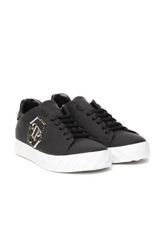 BLACK LEATHER LACED SNEAKER SS 2020 PHILIPP PLEIN | 55 | S20SMSC2646PLE008N02