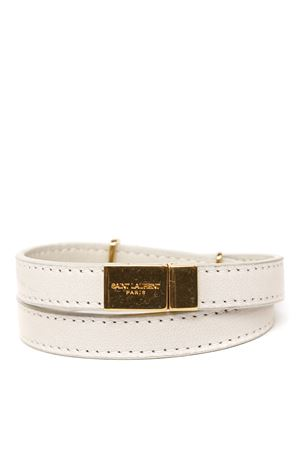 WHITE LEATHER BRACELET WITH YSL LOGO PLAQUE SS 2020 SAINT LAURENT | 59 | 53607305B3J9207