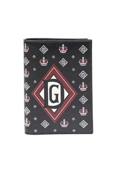 BLACK LEATHER DOCUMENT HOLDER WITH CROWN PRINT  SS 2020 DOLCE & GABBANA | 34 | BP2215AK443HN71C