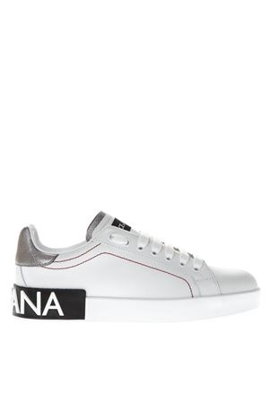 PORTOFINO WHITE LEATHER SNEAKERS WITH EMBOSSED LOGO SS 2020 DOLCE & GABBANA | 55 | CK1587AH5278B441