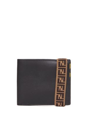 BLACK LEATHER WALLET WITH LOGO STRAP SS 2020 FENDI | 34 | 7M0266A8VCF17BJ