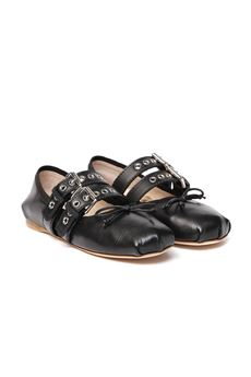 BLACK LEATHER BUCKLED BALLERINA SLIPPERS SS 2020 MIU MIU | 150 | 5F466AFB0053KSRF0002