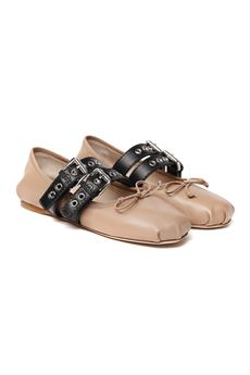 NUDE LEATHER BUCKLED BALLERINA SLIPPER SS 2020 MIU MIU | 150 | 5F466AFB0053KSRF034U