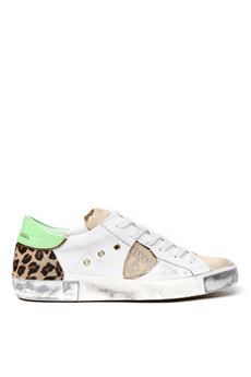 WHITE LEATHER SNEAKERS WITH PONYSKIN INSERT SS 2020 PHILIPPE MODEL | 55 | PRLDUNIFY04