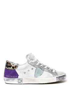 WHITE & VIOLET LEATHER & SUEDE SNEAKERS  SS 2020 PHILIPPE MODEL | 55 | PRLDUNIFY05
