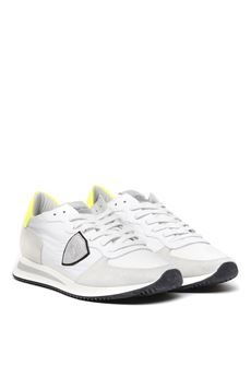WHITE SUEDE & FABRIC SNEAKERS SS 2020 PHILIPPE MODEL   55   TZLUUNIWF22