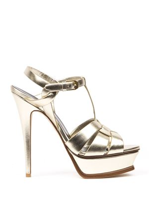 TRIBUTE PLATINUM METALLIC LEATHER SANDALS FW 2019 SAINT LAURENT | 87 | 5342770PS007100