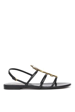 CASSANDRA BLACK LEATHER FLAT SANDALS WITH YSL LOGO SS 2020 SAINT LAURENT | 87 | 5789080UXDD1000