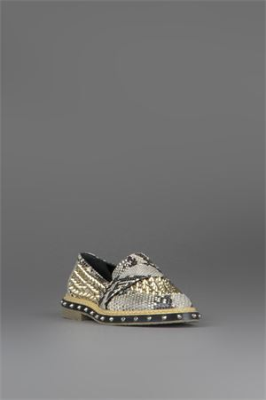 STUDDED PYTHON LOAFERS SS 2015 GREY MER | 130 | 579.10TEQUILAIVORY