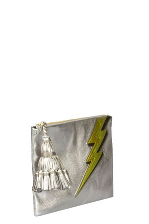 GEORGIANA LIGHTING BOLT LEATHER CLUTCH SS 2016 ANYA HINDMARCH | 2 | 9166601SILVER