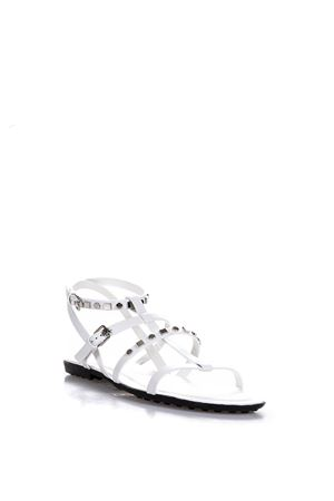 WHITE LEATHER SANDALS WITH METAL STUDS SS 2016 TOD