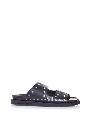 BLACK STUDDED SLIDE SANDALS SS 2017 ALEXANDER McQUEEN | 87 | 462782WHIM01000