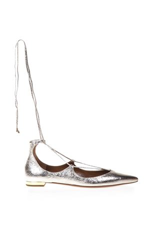 BALLERINE CHRISTY IN PELLE METALLIZZATA PE 2017 AQUAZZURA | 150 | CHRFLAA0NPLFD5LIGHT GOLD