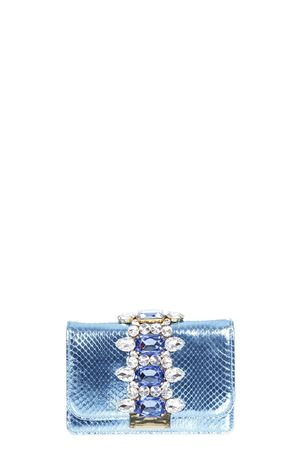 CLIKY EMBELLISHED PYTHON CLUTCH ss 2017 GEDEBE | 2 | CLIKY1AZURE METAL SNAKE