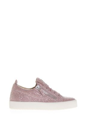 FRANKIE GLITTER LEATHER LOW-TOP SNEAKERS ss 2017 GIUSEPPE ZANOTTI | 55 | RS7002LOGOBALL003