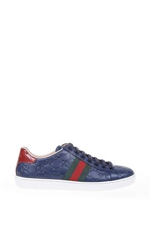 LEATHER SNEAKERS WITH WEB DETAIL SS 17 GUCCI | 55 | 387993CWCV04183