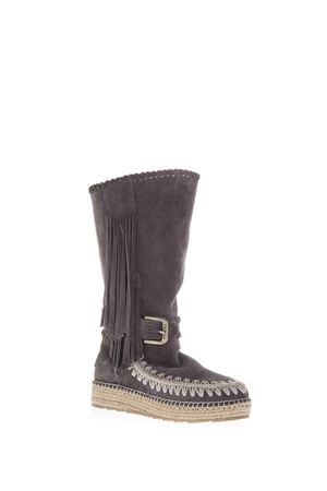 FRINGED INDIAN SUEDE LEATHER BOOTS SS 2017 MOU | 52 | MU.ESKITALLSUEESKIMO JUTE BOOT TALL SUEDECHARCOAL