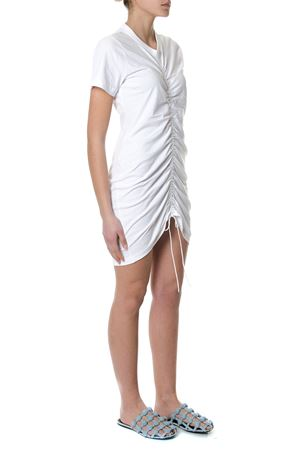 WHITE COTTON RUCHED MINI DRESS SS 2018 ALEXANDER WANG | 32 | 4C486039B0UNI100