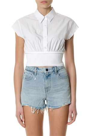 WHITE COTTON CROPPED SHIRT SS 2018 ALEXANDER WANG | 16 | 4W481035P7UNI100