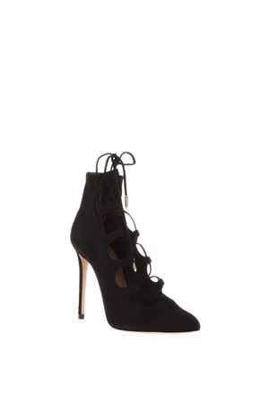 FLIRT BOOTIE IN CAMOSCIO NERO 105mm PE 2018 AQUAZZURA | 52 | FLIHIGB0SUE000