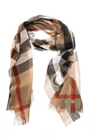 CAMEL CLASSIC WOOL FRINGED SCARF SS 2018 BURBERRY | 20 | 4004196199