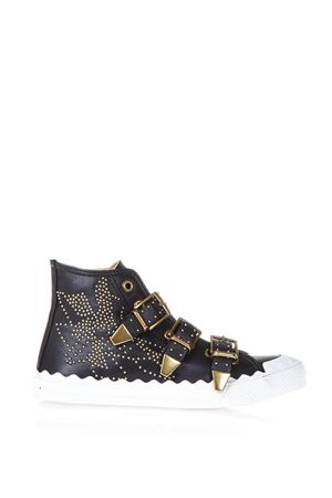 KYLE SPIKES BLACK LEATHER HIGH-TOP SNEAKERS SS 2018 CHLOÉ | 55 | CH30210E91NR0ZY