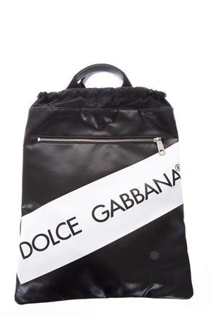 Zaino nero in pelle con logo e coulisse PE2018 DOLCE & GABBANA | 183 | BM1459AN423HNI67