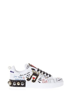 MUSIC PRINTED LEATHER SNEAKERS WITH PATCH SS 2018 DOLCE & GABBANA | 55 | CK0151AH0768S534