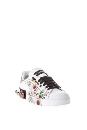 WHITE LEATHER ROSES PRINT SNEAKERS SS 2018 DOLCE & GABBANA | 55 | CK0151AH509HAH41