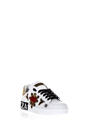EMBELLISHED PORTOFINO WHITE LEATHER SNEAKERS SS 2018 DOLCE & GABBANA | 55 | CK1544AS86589662