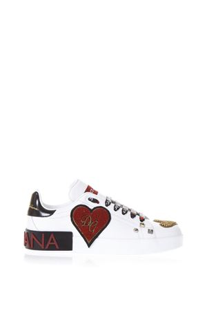 EMBELLISHED WHITE LEATHER SNEAKERS SS 2018 DOLCE & GABBANA | 55 | CK1561AS41989697