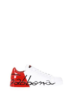 WHITE LEATHER SNEAKEST WITH VARNISHED LOGO SS 2018 DOLCE & GABBANA | 55 | CS1520AI053HR821