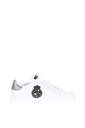 WHITE & SILVER LEATHER SNEAKERS SS 2018 DOLCE & GABBANA | 55 | CS1538AH1368B441