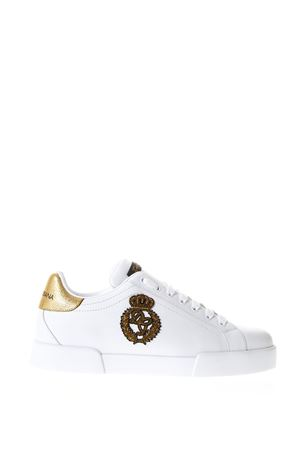 LOGO PATCH WHITE LEATHER SNEAKERS SS 2018 DOLCE & GABBANA | 55 | CS1538AH1368I047